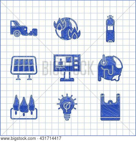 Set Television Report, Light Bulb With Leaf, Plastic Bag, Global Warming, Forest, Solar Energy Panel