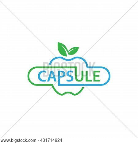 An Abstract Apple And Capsule Logo Nutrition Fruit Nature Vector Image. Apple Logo Nutrition Fruit N