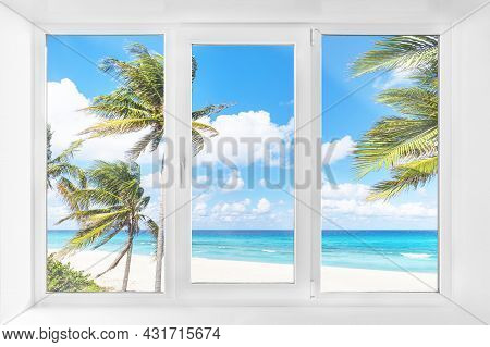 White Plastic Window With A Beautiful View Of The Beach With Palm Trees By The Sea And The Blue Sky.
