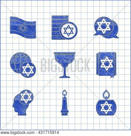 Set Jewish Goblet, Burning Candle, Torah Book, Orthodox Jewish Hat, World Globe Israel, Star Of Davi