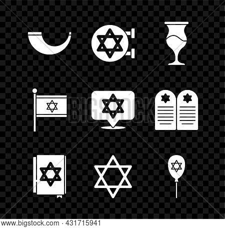 Set Traditional Ram Horn, Shofar, Jewish Synagogue, Goblet, Torah Book, Star David, Balloon With Sta