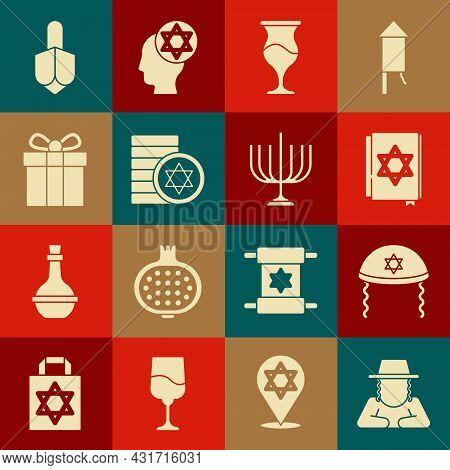Set Orthodox Jewish Hat, Jewish Kippah, Torah Book, Goblet, Coin, Gift Box, Hanukkah Dreidel And Men