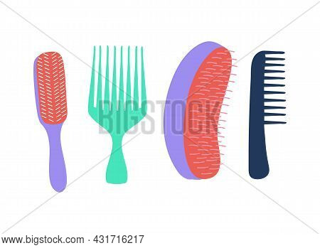 Set Of Brushes For Curly Hair Care. Curly Girl Method (cgm) Concept. Vector Illustration Of Diffrent