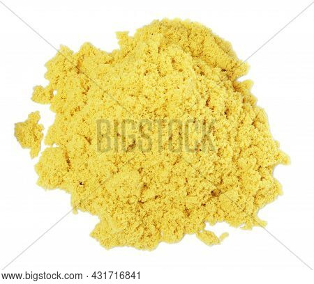 Pile Of Yellow Kinetic Sand On White Background, Top View