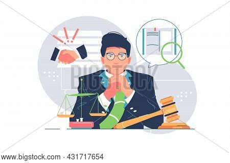 Successful Corporate Lawyer In Suit Vector Illustration. Judicial Worker With Scales Of Justice Flat