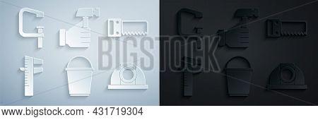 Set Bucket, Hand Saw, Calliper Or Caliper Scale, Worker Safety Helmet, Hammer And Clamp Screw Tool I