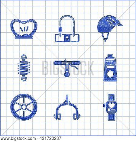 Set Bicycle Handlebar, Brake Calipers, Smart Watch, Sunscreen Cream In Tube, Wheel, Suspension, Helm