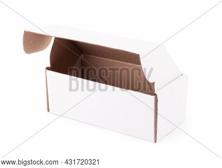 Brown Cardboard Box Isolated On White Background With Clipping Path. Suitable For Food, Cosmetic Or