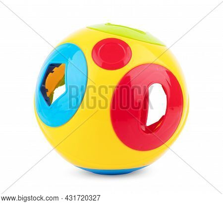 Children's Toys On A Colored Background. A Place To Insert Text, Minimalism. Baby Background.