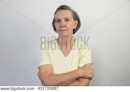 Old Female Woman Senior Shirt Closeup Wall Healthy White Background Smile Happy Mature Grandma Elder