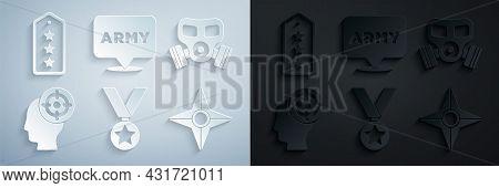 Set Military Reward Medal, Gas Mask, Target Sport, Japanese Ninja Shuriken, Army And Rank Icon. Vect
