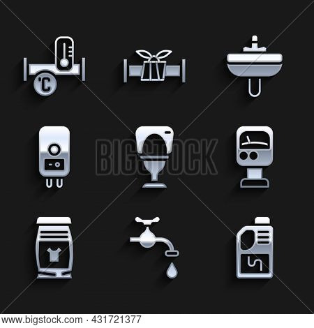 Set Toilet Bowl, Water Tap, Drain Cleaner Bottle, Pressure Water Meter, Laundry Detergent, Electric