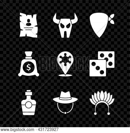 Set Wanted Western Poster, Buffalo Skull, Cowboy Bandana, Tequila Bottle, Western Cowboy Hat, Indian