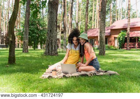 Positive Multiethnic Lesbian Couple With Paper Cups Using Laptop On Blanket In Park