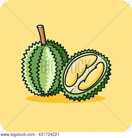 Durian Skin Has Thorns. Cut In Half, See The Durian Flesh Inside ,flat Design On Yellow Background.