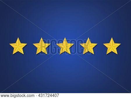 Business Five Star Rating Evaluation Concept Vector Illustration