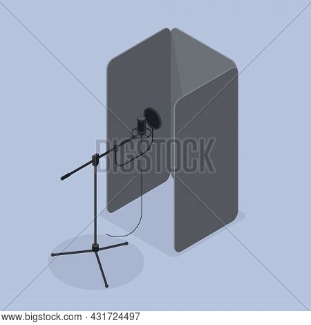 Vocal Booth Sound Studio Isometric Vector Illustration. Microphone And Folding Screen For Profession