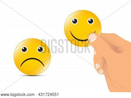 Hand Selecting Happy Face, Happiness Concept Vector Illustration