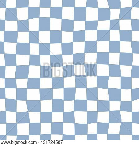 Distorted Checkered Seamless Pattern. Hand-drawn Blue Check. Trendy 70s Style.