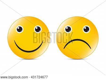 Happy And Sad Face Button Vector Illustration