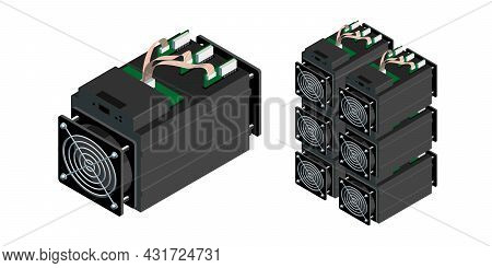 Asic Bitcoin Miner And Asic Mining Farm. Application Specific Integrated Circuit. Bitcoin Mining. Cr