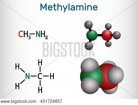 Methylamine Molecule. It Is Simplest Primary Amine. Structural Chemical Formula And Molecule Model.
