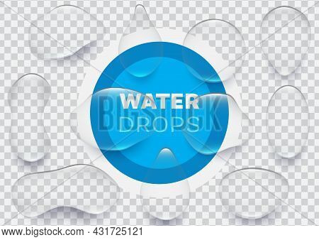Collection Of Realistic Water Drops Vector Illustration