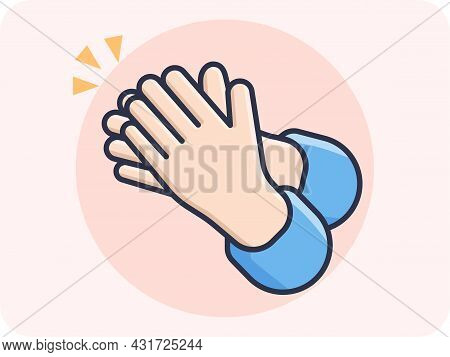 Clapping Hands, Vactor, Emoji, Vector Design, Icon, Flat Design And Isolated.