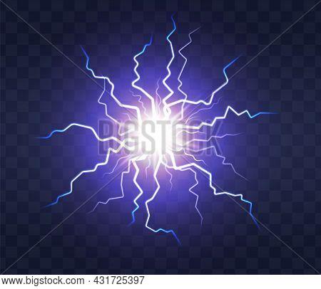 Lightning Flash Light Thunder Spark On Transparent Background. Lightning Ball, Electric Strike Impac