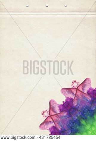 A Sheet Of Notebook Stained With Multicolored Watercolor Spots. Artistic Template For Creative Desig
