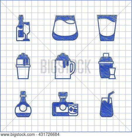 Set Wooden Beer Mug, Whiskey Bottle And Glass, Cocktail, Shaker, Bottle Of Cognac Or Brandy, Glass,