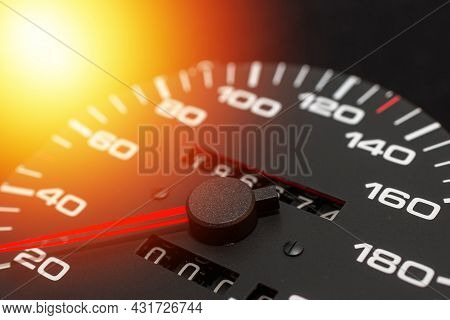 Speedometer In A Car. Car Dashboard. Dashboard Details With Indication Lamps.car Instrument Panel. D