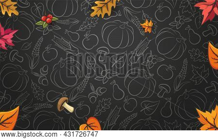 Autumn Background. Blackboard. Falling Leaves On Black Background. Pattern With Vegetables, Fruits A