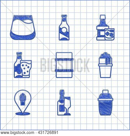 Set Metal Beer Keg, Champagne Bottle And Glass, Cocktail Shaker, Glass Of, Alcohol Or Bar Location,