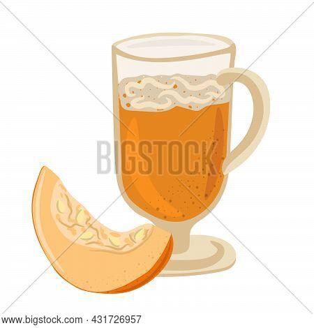 Pumpkin Spice Latte And Part Of Pumpkin, Pumpkin Juice. Traditional Thanksgiving Food Vector Illustr