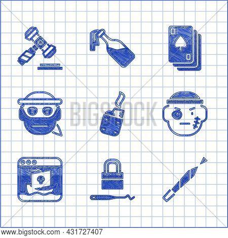 Set Lighter, Lock Picks For Lock Picking, Marijuana Joint, Bandit, Internet Piracy, Playing Cards An