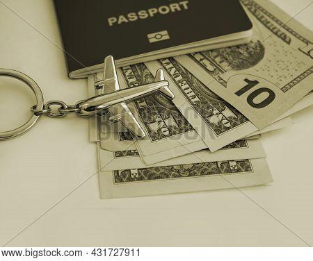 Passport, Dollars, Plane, Travel Background Tourism, Destination