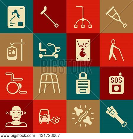 Set Prosthesis Leg, Press Sos Button, Blind Human Holding Stick, Walking Cane, Electric Wheelchair,