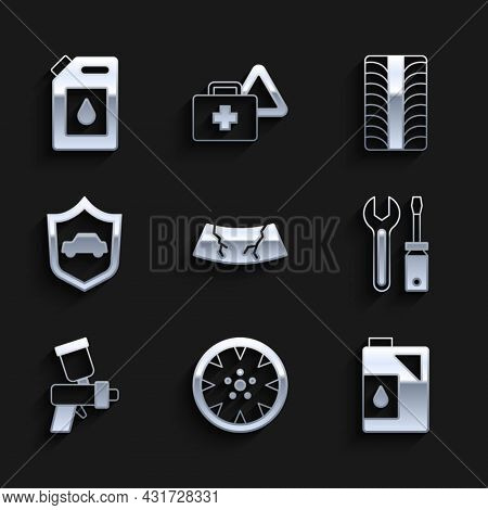 Set Broken Windshield, Alloy Wheel, Canister For Motor Oil, Screwdriver And Wrench Spanner, Paint Sp