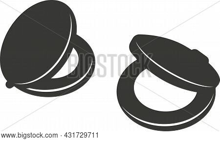Black Flat Silhouette Of A Castanet. A Vector Image.
