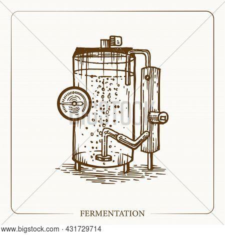 Fermentation Tank. Equipment For The Production Of Cider. Vintage Sketch Garden Background. Hand Dra
