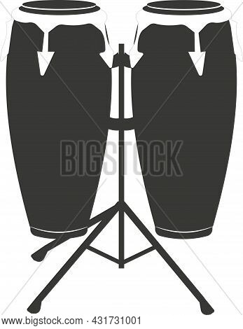 Black Flat Silhouette Of A Hand Drum Or A Kong Drum.