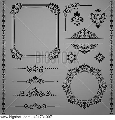 Vintage Set. Floral Elements For Design Monograms, Invitations, Frames, Menus And Labels. Graphic De