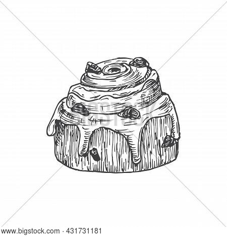 Roll Cake Sweets Hand Drawn Doodle Vector Illustration. Confectionary Sketch Style Drawing. Isolated