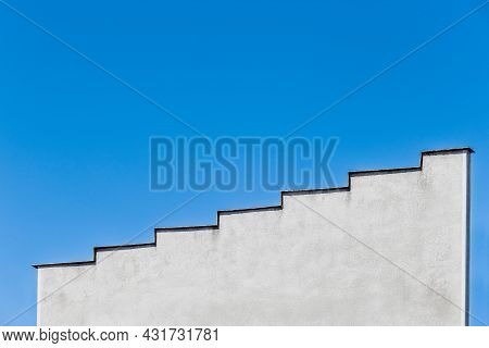 Stairway To The Sky. Architectural Part And View Of A Concrete House Or Building In The Form Of A St