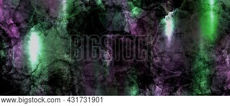 Purple Green Pink Antique Old Background With Blur, Gradient And Watercolor Texture. Space For Artis