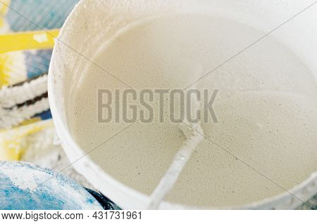 The Concept Of Repair Of The House And Premises. Buckets Of Paint And Lime For Whitewashing And Pain