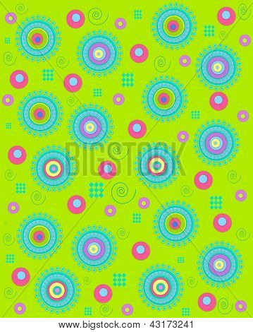 Dots Encircling On Neon Green