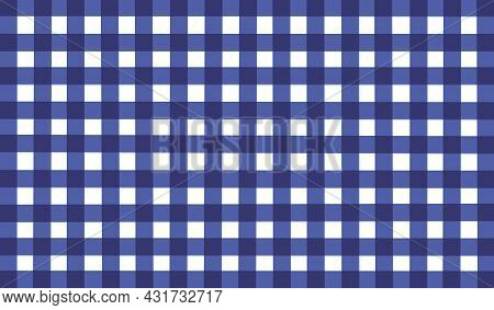 Blue Vintage Checkered Background. Space For Graphic Design. Checkered Texture. Classic Checkered Ge
