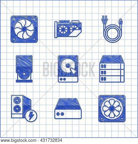 Set Hard Disk Drive Hdd, Server, Data, Web Hosting, Computer Cooler, Case Of Computer, Optical Disc,